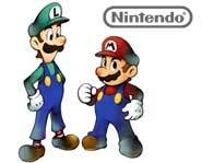 Mario and Luigi are ready to play games on the upcoming Nintendo DS two-screen handheld game system!