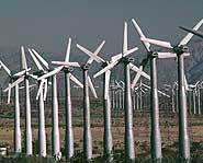 Wind farms have hundreds of wind turbines to make energy from wind.