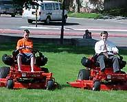 Ryan and the Governor of Utah, Mike Leavitt, mow the Capital lawn.