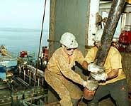 Men at work on an oil rig.