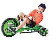 The Huffy Green Machine is a three-wheeled vehicle for kids that is perfect for sidewalk spin-outs.