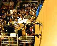 Picture of pro skateboarder, Bob Burnquist, in the vert ramp at the X Games.