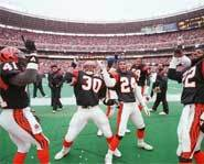 The Bengals whoop it up after a TD.