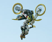 Travis Pastrana does a backflip at the 2003 X Games.