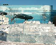 An ice sculpture and Wyland's Whaling Wall mural.
