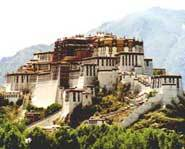 The Potala Palace in Lhasa, Tibet is the former home of the Dali Lama.