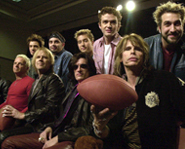 Aerosmith hangin' with boy band *NSYNC.