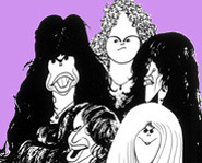 Cartoon of Aerosmith: Steven Tyler, Joe Perry, Tom Hamilton, Brad Whitford and Joey Kramer.