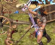 The computer-generated Dorn kicking butt in Baldur's Gate Dark Alliance 2 for the Playstation 2 and Xbox.