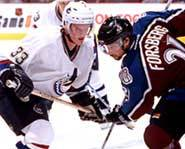 Henrik Faces Off with Peter Forsberg