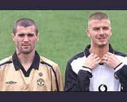 Roy Keane and David Beckham show off the new Manchester United Jerseys.