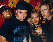 Sum 41 biography: Deryck Whibley (Bizzy D), Dave Baksh (Brown Sound), Steve Jocz (Stevo 32) and Cone McCaslin (Cone).