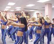 The Sea Gals, professional cheerleaders for the Seattle Seahawks, practice their moves.