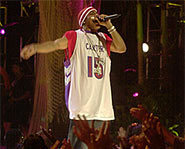 Nelly bio: Nelly the rapper performs at Teenapalooza 2001.