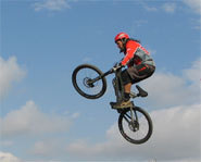 Photo of freestyle mountain biker, Jay Hoots.