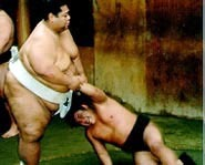Sumo Wrestlers Wrestle for Supremacy