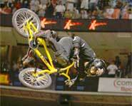 Mat Hoffman on his BMX at the 2002 X Games in Philadelphia.