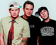 Blink-182 pranksters Tom DeLonge, Mark Hoppus and Travis Barker.