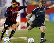 Picture of Major League Soccer stars,  Amado Guevara and Taylor Twellman.