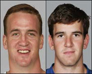 Picture of Eli Manning and Peyton Manning, both quarterbacks in the NFL.