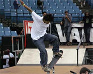 Picture of skateboarder, Paul Rodriguez, at the 2005 Slam City Jam.