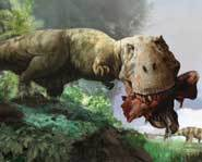 Tyrannosaurus Rex rips into his lunch.