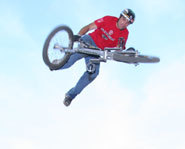 Photo of BMX dirt jumper, T.J. Lavin at the 2005 X Games.