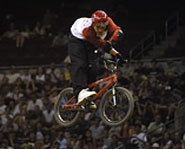 Picture of BMX dirt jumper, T.J. Lavin at the 2005 X Games.