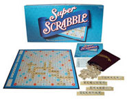 Super Scrabble is an updated version of the classic family board game with more tiles, more scoring and a bigger board.