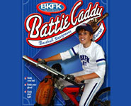Picture of the Battie Caddy - a rack for carrying baseball gear on a bike.