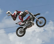 Picture of freestyle motocross rider, Nate Adams, at the 2005 X Games.