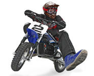 Picture of the Razor Dirt Rocket - miniature electric dirt bike.