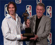 Picture of NBA superstar, Steve Nash, accepting the 2005 NBA MVP Award.