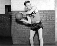 Picture of college basketball player during the 1930s.
