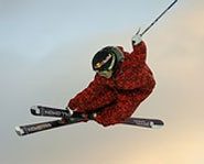 Picture of freestyle skier at the 2005 Winter X Games.
