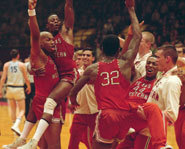 Scene from Glory Road, a college basketball movie, starring Josh Lucas and Derek Luke.