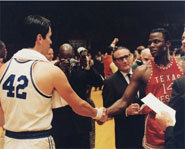 Scene from Glory Road, a Disney movie starring Derek Luke and Josh Lucas.