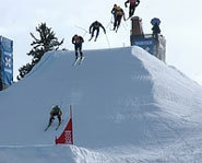 Picture of a skiercross race at the Winter X Games.