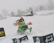 Picture of snowmobile racer, Tucker Hibbert, at the Winter X Games.