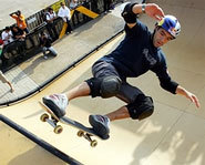 Picture of vert skateboarding Sandros Dias at the X Games.