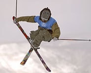 Photo of freestyle skier, TJ Schiller, at the 2005 X Games.