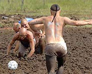 Photo of the annual Swamp Soccer World Championships.