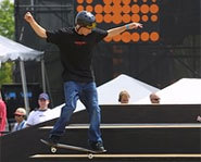 Photo of skateboarder doing a nose manual at the X Games.
