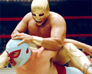 Picture of a Lucha Libre wrestling match in the movie, Nacho Libre.