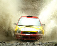 Photo of a rally car at a Rally America race.