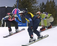 Photo of snowboarder, Lindsey Jacobellis, who lost the gold medal in boardercross at the 2006 Winter Olympics.