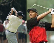 Picture of golf rivals Phil Mickelson and Tiger Woods.