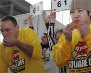 Photo of eating rivals Joey Chestnut and Takeru Kobayashi.
