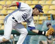Nomar Garciaparra is the first baseman for the Los Angeles Dodgers.