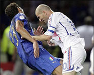 Photo of Zinedane Zidane's famous headbutt.